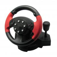 Vibration PS3 / PS2 Steering Wheel And Pedals With 180 Degree Rotation Angle