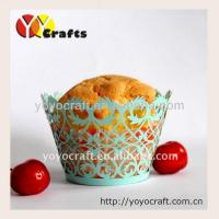 Wholesale Weeding Laser Cut Cupcake Wrappers , fence design Laser Cut cupcake holder from china suppliers