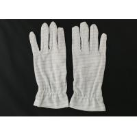 Quality White Color Stripes Anti Static Gloves 100% Polyester Material For Repairing for sale