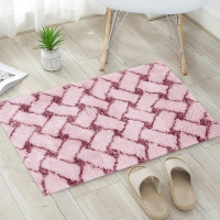 Buy cheap 1.2 Inch Pile Plush Water Absorb Tufted Bath Mat Plaid Pattern from wholesalers
