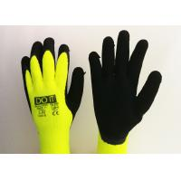 Wholesale Fluorescent Yellow Latex Palm Coated Gloves , Rubber Coated Gloves Knit Wrist Type from china suppliers