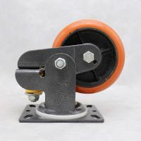 Wholesale PU On Cast Iron Spring Loaded Wheel Casters / Heavy Duty Spring Loaded Casters from china suppliers