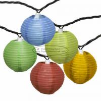 Wholesale Room Essentials Paper Lantern String Lights , Colored Lantern String Lights Blue Dots Printed from china suppliers