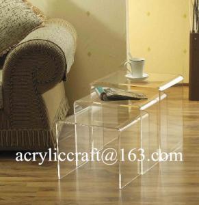 China New transparent n shap acrylic furniture plexiglass coffee table on sale