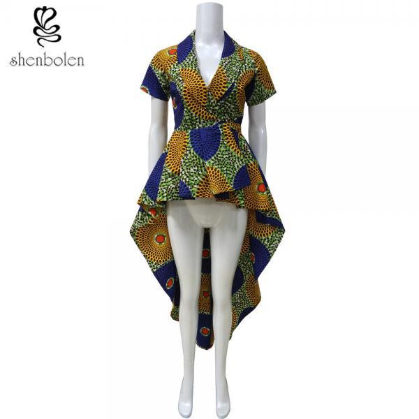 655cd127b3d454 OEM Service Mixed Color Ankara African Print Tops Short Sleeve High Low  Style - shenbolendress images