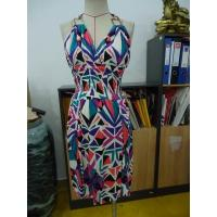 Wholesale Diamond Printing Womens Casual Summer Dresses Halter Neck Open Back Maxi Dress from china suppliers