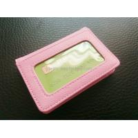 China Women Card Holder Leather Credit Card Holder Mini Leather Wallet With Clear Window on sale