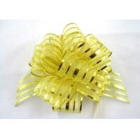 Yellow Blue Pink Pom Pom Pull Bow , Organza Striped Ribbons with Long Tulle Tails