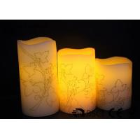 China 3 PK  Real Wax Electronic Candles with Flower design , Carved  LED Candles wholesale