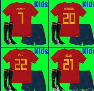 Thailand KIDS Spain soccer jerseys 2018 world cup football Kits kids uniform  with socks camisetas de futbol MORATA ASENS 40c329ecc