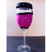Quality Diamond decorative 2.5mm neoprene wine glass cover cooler holer with lid for sale