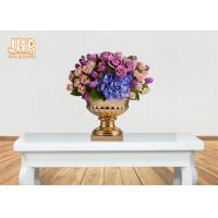 Wholesale 3 Sizes Classic Fiberglass Flower Pots Gold Leafed Finish Poly Resin Planters from china suppliers