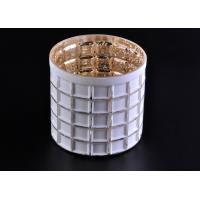 Mercury Electroplated White Sprayed Glass Candle Jars , Square Pattern