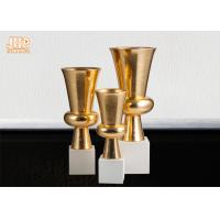 Wholesale Trumpet Gold Leaf Fiberglass Planters With Frosted White Base Pot Planters from china suppliers
