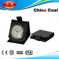 Wholesale Folding Black Leather Alarm Clock Portable Artware from china suppliers