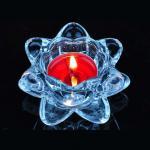 Blue transparent crystal lotus glass candle holder supplier