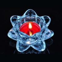 Blue transparent crystal lotus glass candle holder supplier