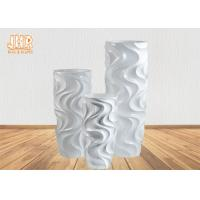 Wholesale Home Decor Fiberglass Flower Pots Wavy Pattern Glossy White Durable 3 Sizes from china suppliers
