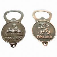 Wholesale Bottle Opener Keychains, Made of Zinc Alloy, Metal, Bright Chrome Color, Ideal for Promotions, Gifts from china suppliers