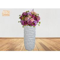 Wholesale 3 Sizes Unique Geometric Pattern Fiberglass Decorative Planters Glossy White from china suppliers