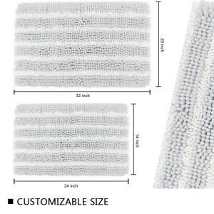 Wholesale White Shaggy Chenille Bathroom Rugs Rectangle Water Absorption Bath Mat from china suppliers