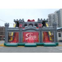 Wholesale 12x10m children giant medieval haunt house inflatable castle slide with tunnel N obstacle course from china suppliers