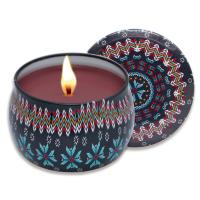 Quality Hot European candle gift sets Custom retro patterns travel metal jar scented for sale