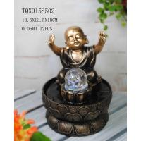 Little Monk Resin Water Pump Fountain With Revolving Ball 13.5 X 13.5 X 18 Cm