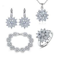 White Gold Plated Cubic Zirconia Jewelry Sets Snowflake Earrings Necklace Ring Sets