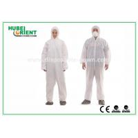 Wholesale Type 5 / 6 Disposable Coveralls with Hood Splash Proof SMS Chemical Coveralls from china suppliers