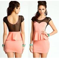 Wholesale Fashionable Cap Sleeve Casual Womens Dresses Pink Washable from china suppliers