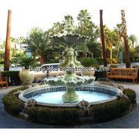 Wholesale Garden stone fountain with pool, outdoor green marble fountain , decorative fountain from china suppliers