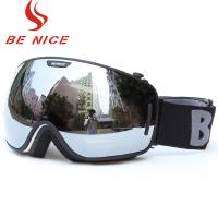 Wholesale Big Spherical Black Mirrored Ski Goggles , Anti Scratch Tinted Snowboard Goggles from china suppliers