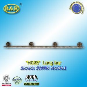 China Metal coffin bar Ref H023 zamak coffin long bar metal herrajes de ataudes 1.55 meter with 4 bases wholesale