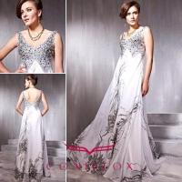 Wholesale low v-neck sequined quinceanera dresses,  shiny pattern quinceaanera dresses from china suppliers