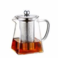 Wholesale Christmas present 750ml square shape pyrex glass teapot with infuser from china suppliers