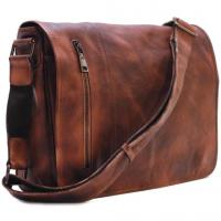 Wholesale Men's Distressed Full Grain Leather Messenger Bag, Leather Bag, Cross Body Bag, Briefcase from china suppliers