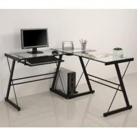 Transparent Glass And Wood Corner Computer Desk For Office DX-402C