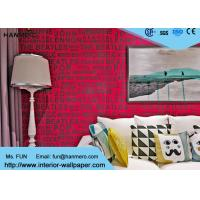 Red Color English Words House Decoration Modern Removable Wallpaper