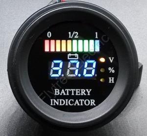 Round battery gauge Dual LED line 10 Bar Digital Battery Discharge Indicator electric LSV NSV golf carts 5V up to 100V
