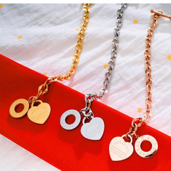 Custom Proverbs Stainless Steel Chain Bracelet Heart Pendant Women Bracelet