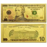 Wholesale US 10 dollar Gold Foil Banknote World Currency for Souvenir from china suppliers