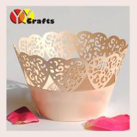 Wholesale Laser Cut Cupcake Wrappers , Ivory Cupcake Liners heart shape cut out cake decorations from china suppliers