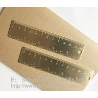 Wholesale Brass Bookmark Ruler with graduation, mini brush brass ruler with engraved logo from china suppliers