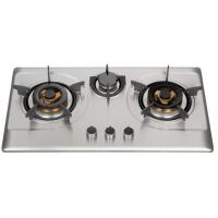 China Silver Stainless Steel 3 Burner Gas Hob , Built In 3 Burner Stainless Steel Gas Stove on sale