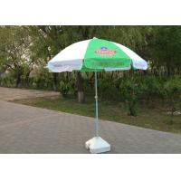 Green And White Outdoor Advertising Umbrellas With Double Steel Wire Ribs Frame
