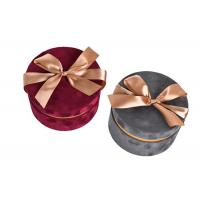 Wholesale Round Glitter Velvet Jewelry Box , Suede Gift Box Stamping Logo With Top Ribbon from china suppliers