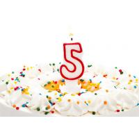 Wholesale Birthday Candle Number 5 With Red Color Edge , Lovely Candles For Cake Decorating from china suppliers
