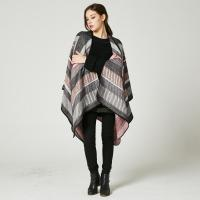 Buy cheap New European and American imitation cashmere cloak big frame jacquard open fork from wholesalers