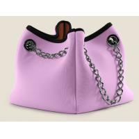 Wholesale 5mm reusable neoprene shopping bag with metal chain handle, Leisure collapsible cooler bag from china suppliers
